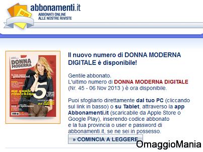 abbonamenti gratis Donna Moderna