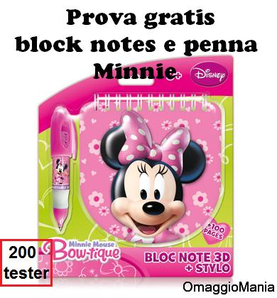 prova gratis block notes e penna Minnie