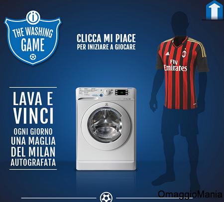"""concorso Indesit """"The Washing Game"""" per vincere maglietta del Milan"""