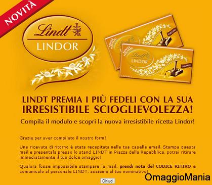 conferma Lindor ritiro omaggio Eurochocolate 2013