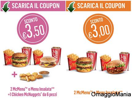 coupon McDonald's fino al 27 ottobre