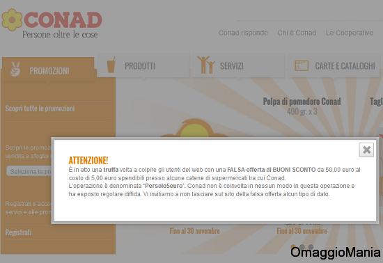 comunicato Conad truffa online