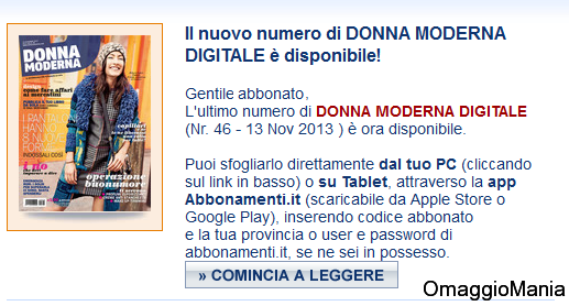 abbonamento gratis Donna Moderna - numero novembre
