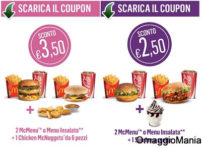 buoni sconto McDonald's fino al 10 novembre