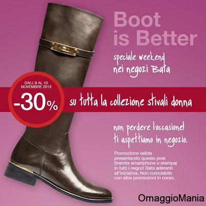 buono sconto Bata 30% su stivali donna