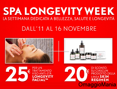 coupon sconto SPA Longevity Week