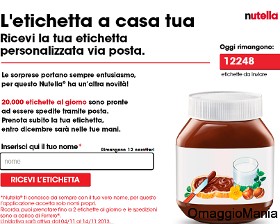 etichetta Nutella omaggio
