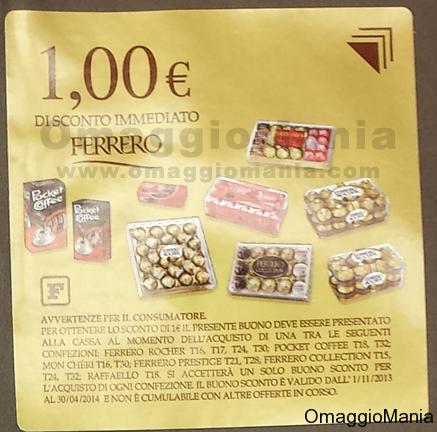 buono sconto Ferrero Rocher, Pocket Coffee e Raffaello