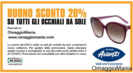 buono sconto Ottica Avanzi su occhiali da sole