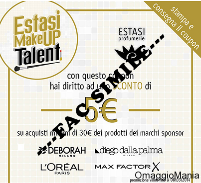 buono sconto Estasi Profumerie con Estasi Makeup Talent