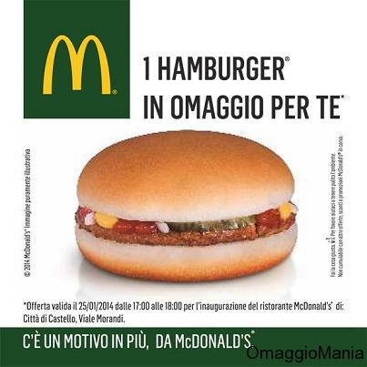 hamburger gratis McDonald's Città di Castello