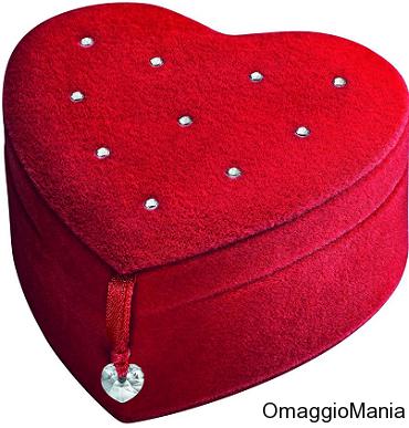 omaggio Swarovski: portagioie a forma di cuore con cristalli