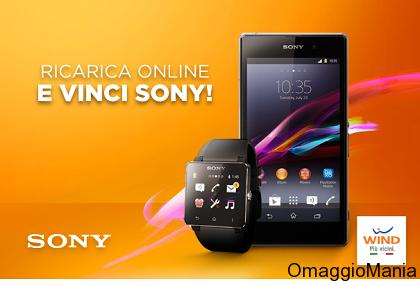 ricarica online con Wind e vinci Sony