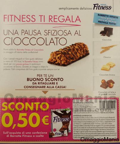 barretta omaggio e buono sconto Fitness Nestlè
