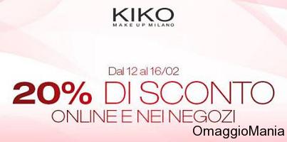 buono sconto 20% Kiko online e nei negozi 12-16 febbraio