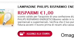 buono sconto lampadine Philips a risparmio energetico