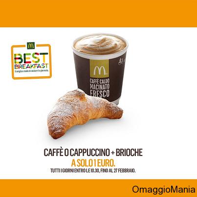 coupon McDonald's colazione a 1 euro