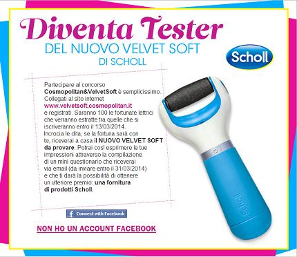 diventa tester Velvet Soft di Scholl
