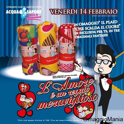 plaid omaggio da Acqua&Sapone per San Valentino