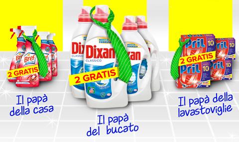 1+1 gratis sulle confezioni bipacco da Casa Henkel per la Festa del Papà