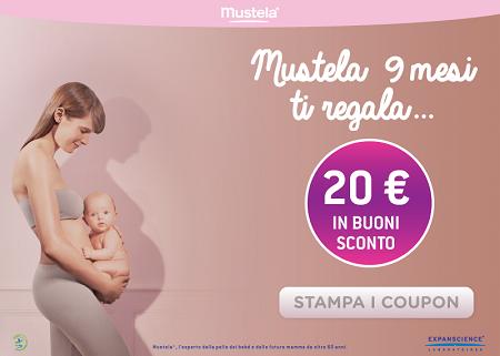 buoni sconto Mustela per un valore di 20 euro