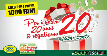 buoni sconto Supermercati DICO per festeggiare i 20 anni