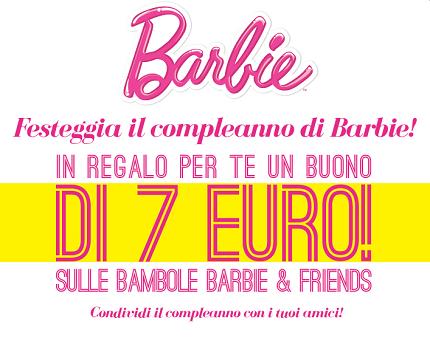 buono sconto Barbie per il compleanno