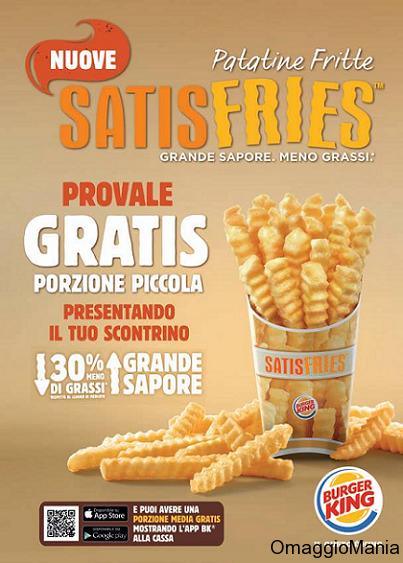 patatine gratis da Burger King