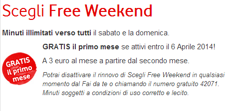 Free Weekend Vodafone gratis il primo mese