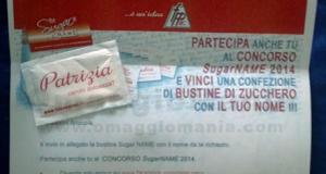 bustina di zucchero omaggio personalizzata con il proprio nome
