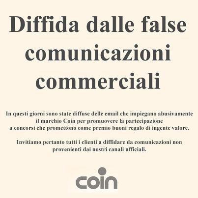 comunicazione concorso truffa da Coin