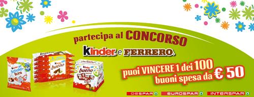 vinci buoni spesa con il concorso Kinder e Ferrero