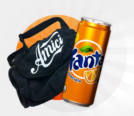 vinci fornitura di Fanta Orange e borsone Amici