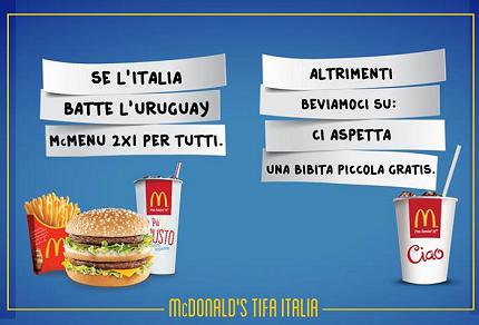 McDonald's tifa Italia per Italia-Uruguay: menu 2x1 o bibita gratis