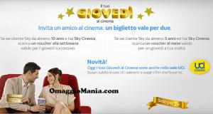 biglietto cinema 2x1 con Sky Giovedì al cinema