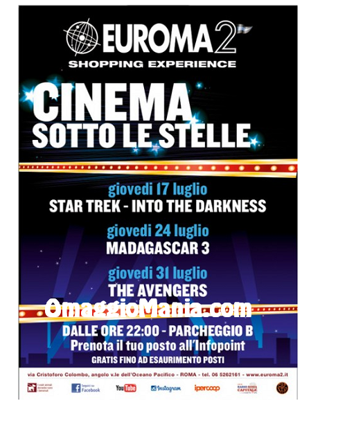 euroma2 cinema sotto le stelle gratis