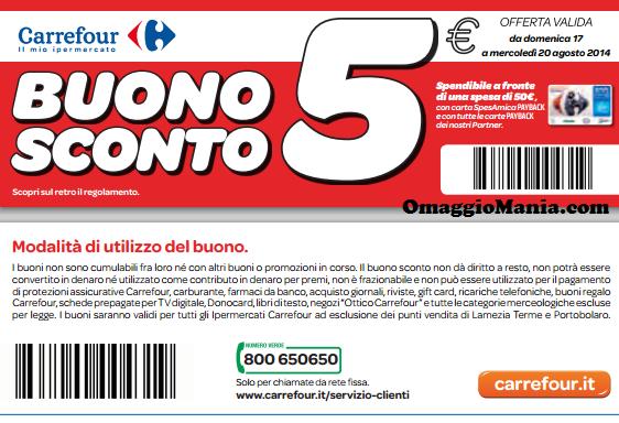 Buono sconto carrefour 5 euro omaggiomania for Buoni omaggio
