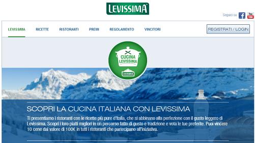 concorso a premi cucina levissima vinci cene gratis