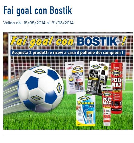 pallone omaggio con acquisto Bostik