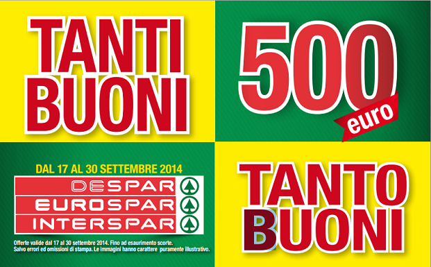 500 euro in buoni sconto Despar, Eurospar e Interspar