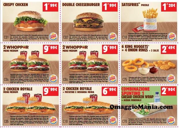 buoni sconto Burger King fino al 15 ottobre 2014