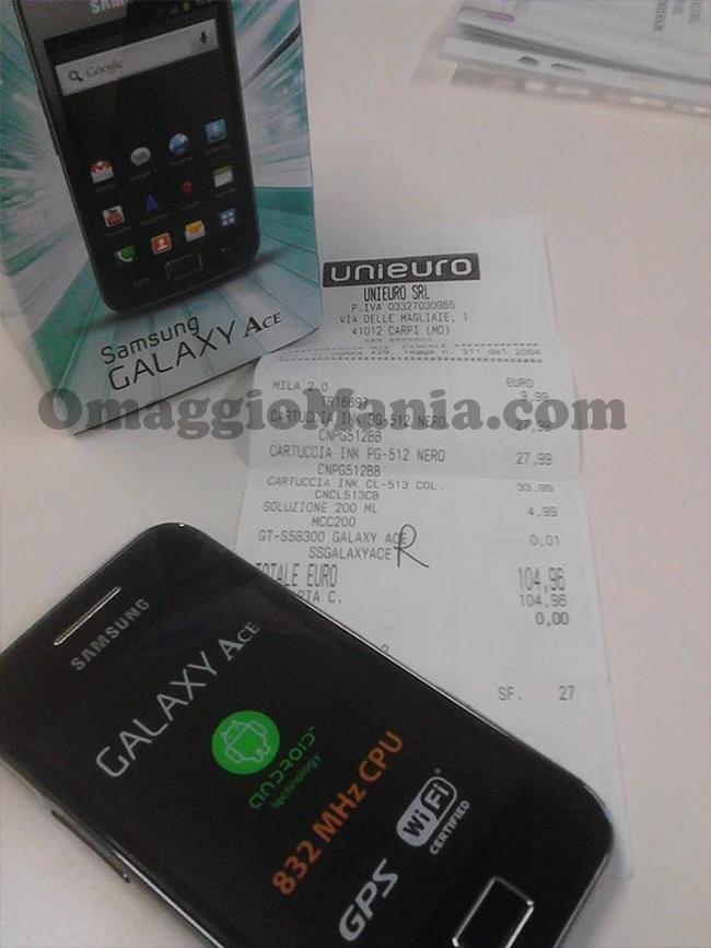 smartphone Samsung Galaxy Ace omaggio