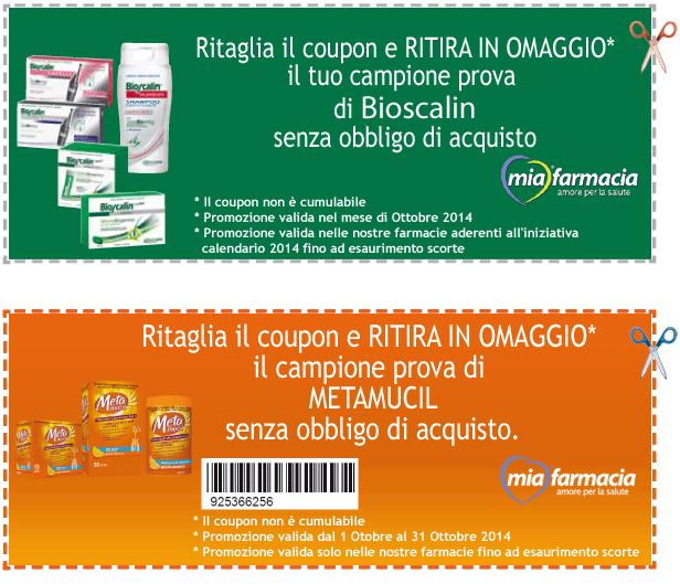 campioni omaggio Bioscalin e Metamucil da MiaFarmacia
