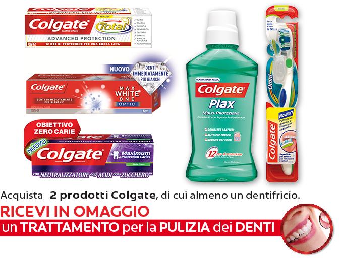 pulizia dei denti omaggio da Colgate