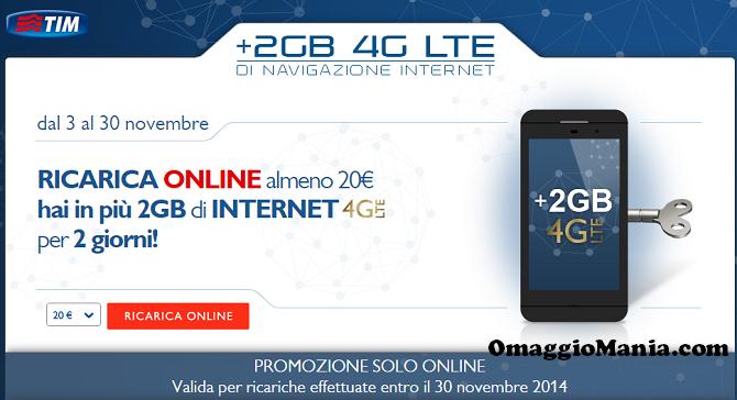 2 GB di internet 4G LTE omaggio con TIM