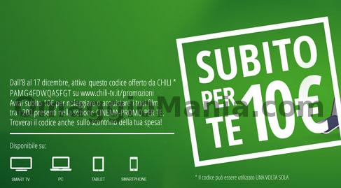 buono sconto Chili TV 10 euro
