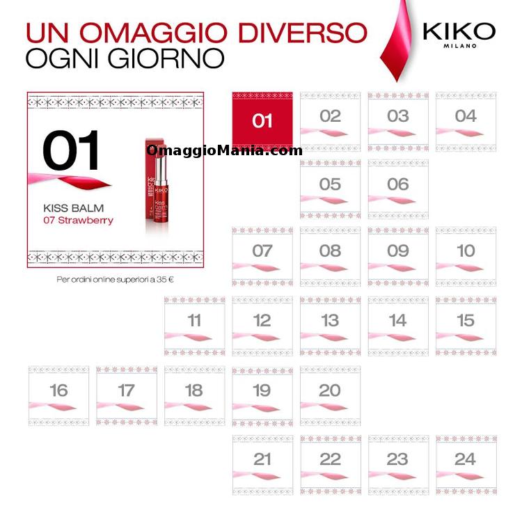 prodotti omaggio Kiko con il Calendario dell'Avvento 2014