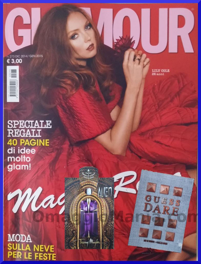 rivista Glamour con campioni omaggio Alien e Guess Dare