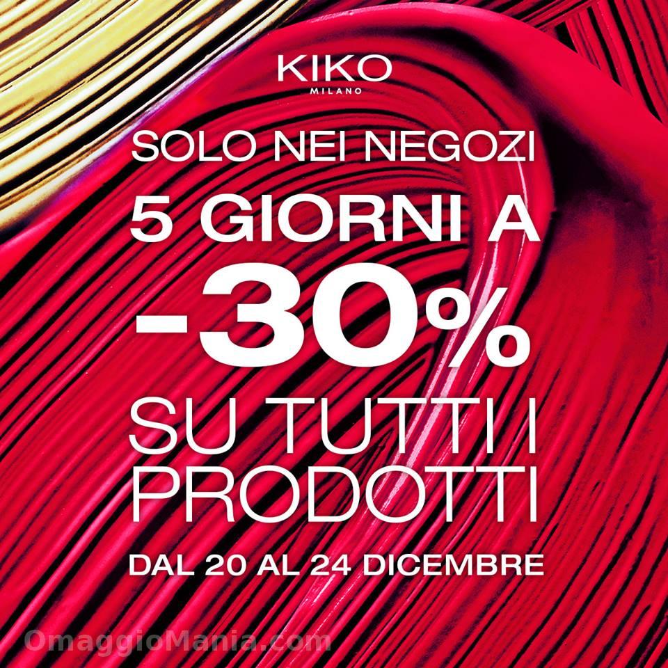 sconto 30% Kiko su tutti i prodotti