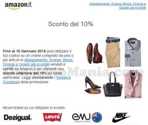 codice sconto Amazon 10 su abbigliamento, scarpe, borse